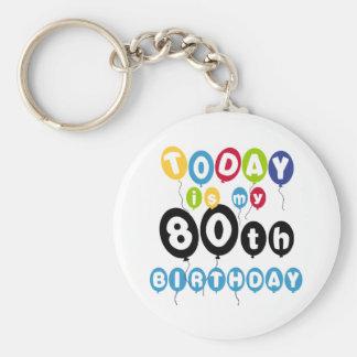 Balloons 80th Birthday Basic Round Button Keychain