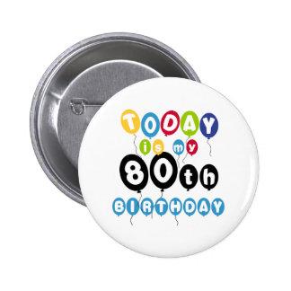 Balloons 80th Birthday Pinback Button