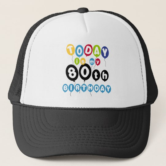 Balloons 80th Birthday Trucker Hat