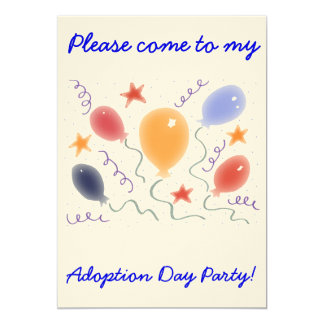 "Balloons  Adoption Day Party invitation 5"" X 7"" Invitation Card"