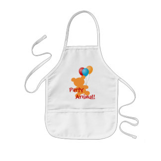 Balloons and bear kid s Party Animal apron