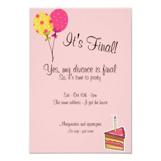 "Balloons and Cake Divorce Party Invitation 3.5"" X 5"" Invitation Card"