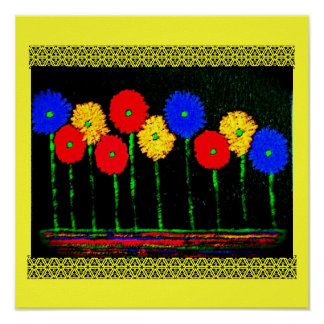 Balloons and Flowers Poster
