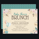 "Balloons and Gifts | Baby Shower Brunch Invitation<br><div class=""desc"">This elegant baby shower brunch invitation features soft flowers and is accented with a graphic of teal and orange balloons tied to gifts. The watercolor graphics make this invitation very trendy.</div>"