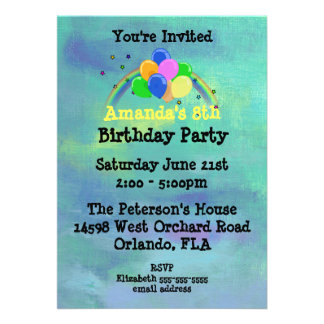 Balloons and Rainbow Customized Birthday Party Card