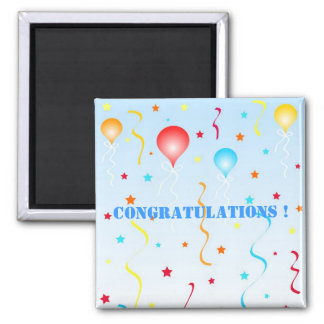 Balloons and stars 2 inch square magnet