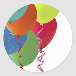 balloons and streamers gifts classic round sticker