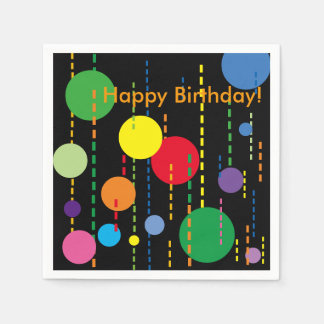 Balloons and Streamers on Black Paper Napkin