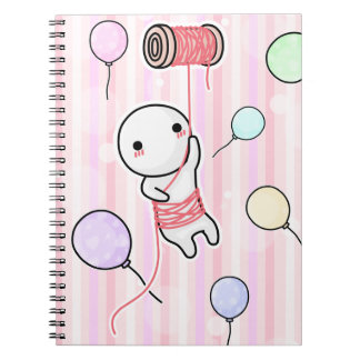 balloons and thread doll spiral notebook