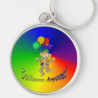 Balloons Anyone Silver-Colored Round Keychain