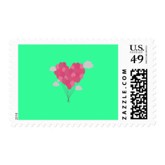 Balloons arranged as heart postage stamp