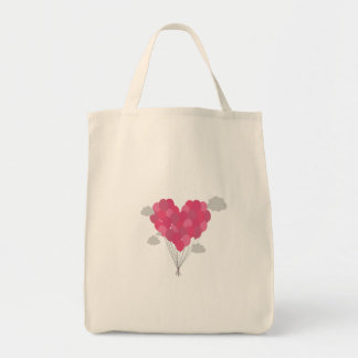 Balloons arranged as heart tote bag
