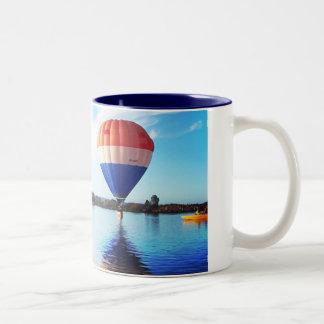 balloons at the lake Two-Tone coffee mug
