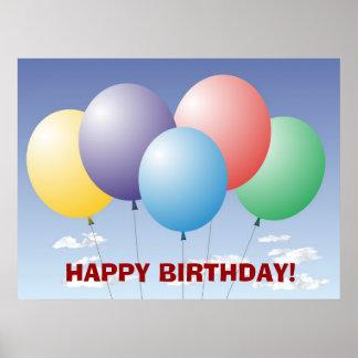 Balloons Birthday Banner Poster
