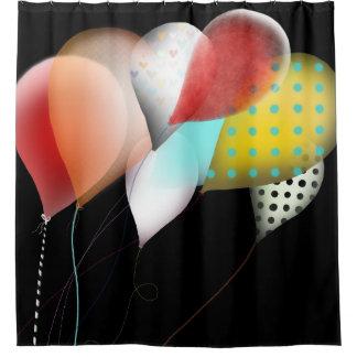 Balloons Black Shower Curtain