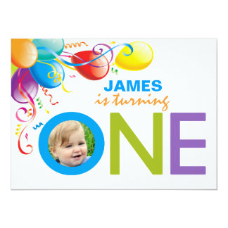 "Balloons Boy First Birthday Party | Photo Invite 5.5"" X 7.5"" Invitation Card"