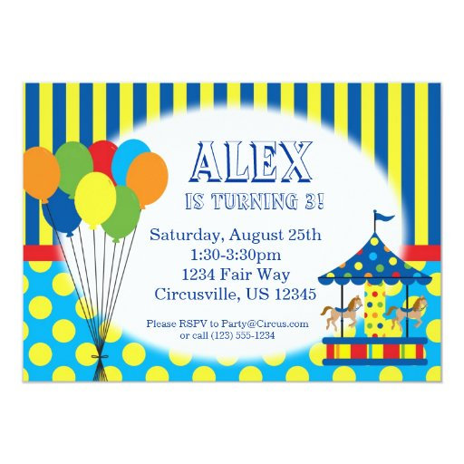 Balloons, Carousel, Carnival Circus Birthday Party 5x7 Paper Invitation Card