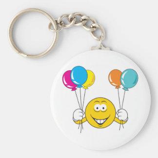 Balloons Celebration Smiley Face Basic Round Button Keychain