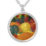 Balloons Colorful Party Design Silver Plated Necklace