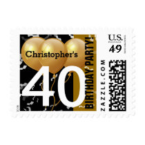 Balloons Confetti 40th Birthday BLACK GOLD K96Z3A Postage