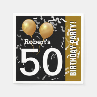 Balloons Confetti 50th Birthday or ANY YEAR A1 Paper Napkin
