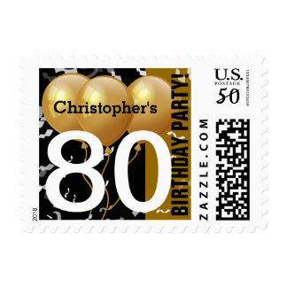 Balloons Confetti 80th Birthday BLACK GOLD K96Z3D Postage