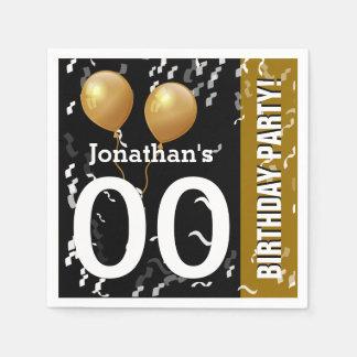 Balloons Confetti Modern Birthday B01 BLACK GOLD Paper Napkin