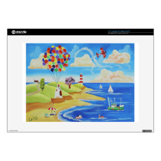 Balloons cows and sheep at the beach laptop skin