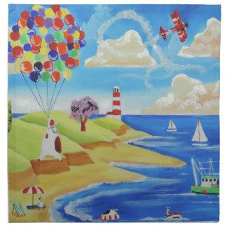 Balloons cows and sheep at the beach napkin