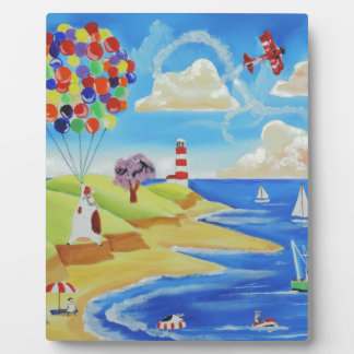 Balloons cows and sheep at the beach plaque