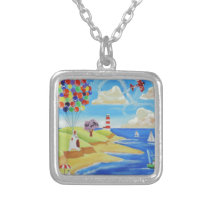 Balloons cows and sheep at the beach silver plated necklace
