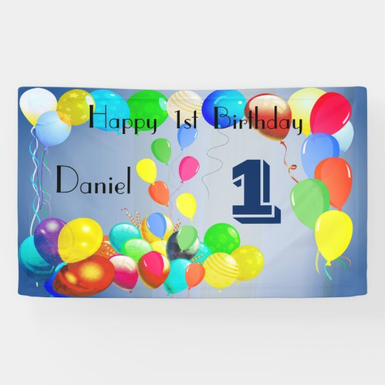 Balloons Design Personalized Happy 1st Birthday Banner