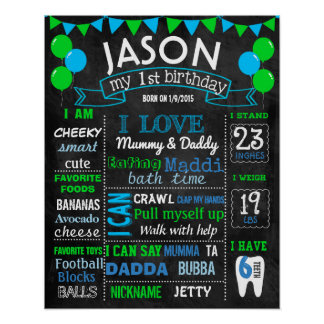 Balloons first birthday chalkboard sign green blue