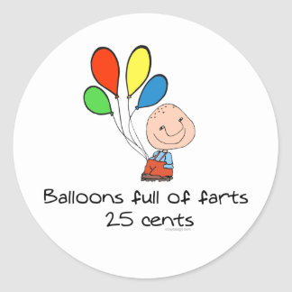 Balloons full of farts classic round sticker