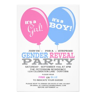 Balloons Gender Reveal Party Invitation