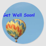 Balloons, get well soon! classic round sticker