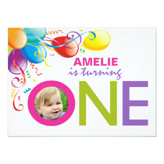 "Balloons Girl First Birthday Party | Photo Invite 5.5"" X 7.5"" Invitation Card"
