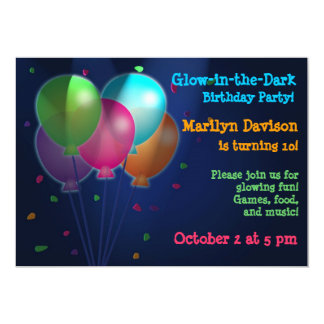 Balloons Glow in the Dark Party Invitations