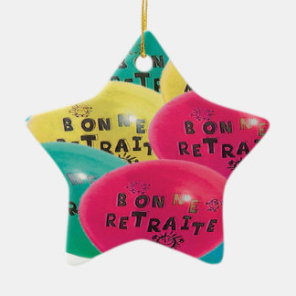 BALLOONS GOOD RETRAITE.png Double-Sided Star Ceramic Christmas Ornament