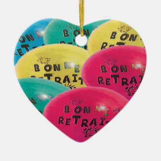 BALLOONS GOOD RETRAITE.png Double-Sided Heart Ceramic Christmas Ornament