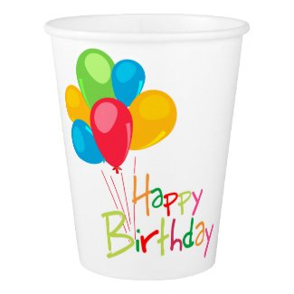 Balloons Happy Birthday Paper Cup