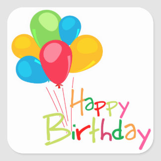 Balloons Happy Birthday Square Stickers