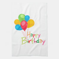 Balloons Happy Birthday Towel