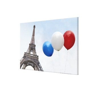 Balloons in the colors of the French flag in Canvas Print