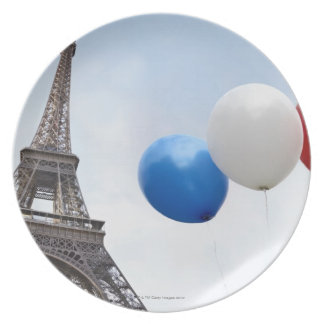 Balloons in the colors of the French flag in Plate