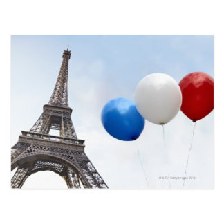 Balloons in the colors of the French flag in Postcard