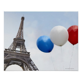 Balloons in the colors of the French flag in Poster
