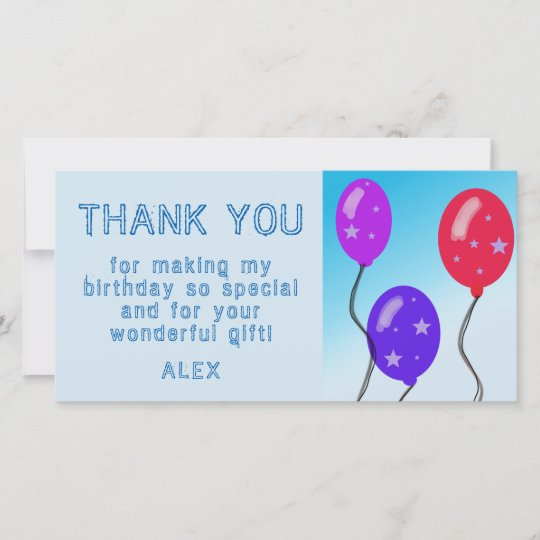 Party Thank You Cards Hat /& Balloons Personalized Childrens Party Thank You