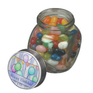 Balloons On Blue Stripes Glass Candy Jars