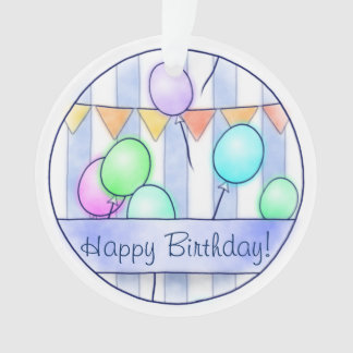 Balloons On Blue Stripes Ornament
